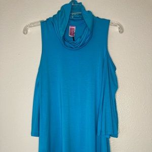 Turquoise cold shoulder cowl neck top